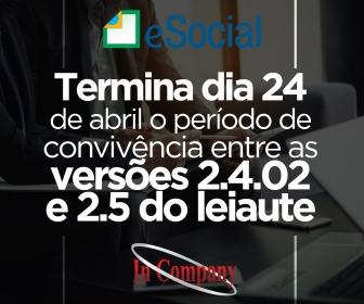 Imagem da notícia: Termina dia 24 de abril o período de convivência entre as versões 2.4.02 e 2.5 do leiaute
